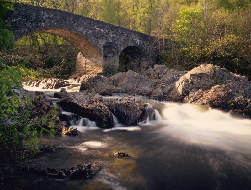 Passerelle de Balgie, gorge Lyon, Perthshire photo stock