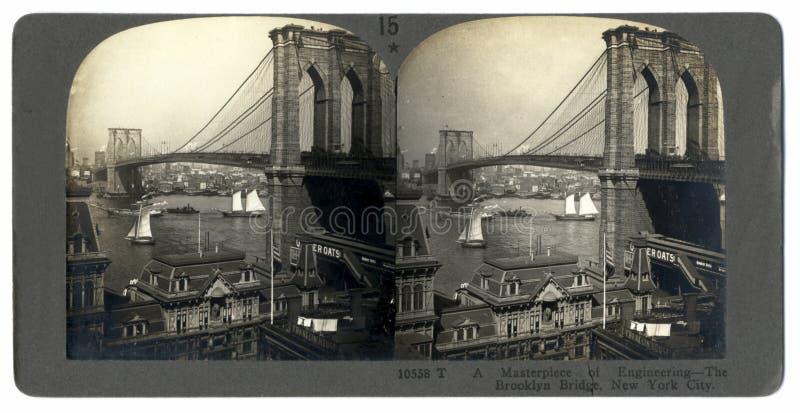 Passerelle de Brooklyn d'antiquité Stereograph photographie stock