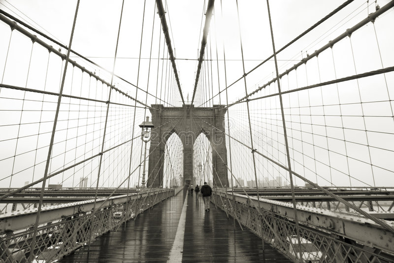 Passerelle de Brooklyn grande-angulaire photos libres de droits
