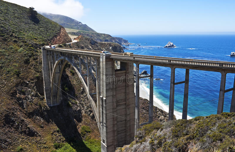 Passerelle de crique de Bixby, grand Sur, la Californie photo stock
