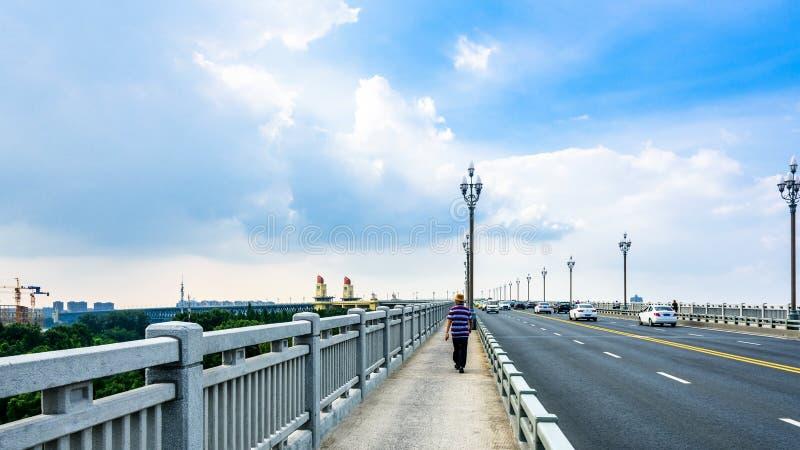 Passerelle de fleuve de Nanjing le Yang Ts? Kiang image libre de droits