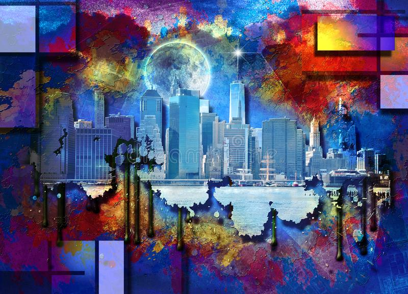 Passerelle de Manhattan et de Brooklyn illustration stock
