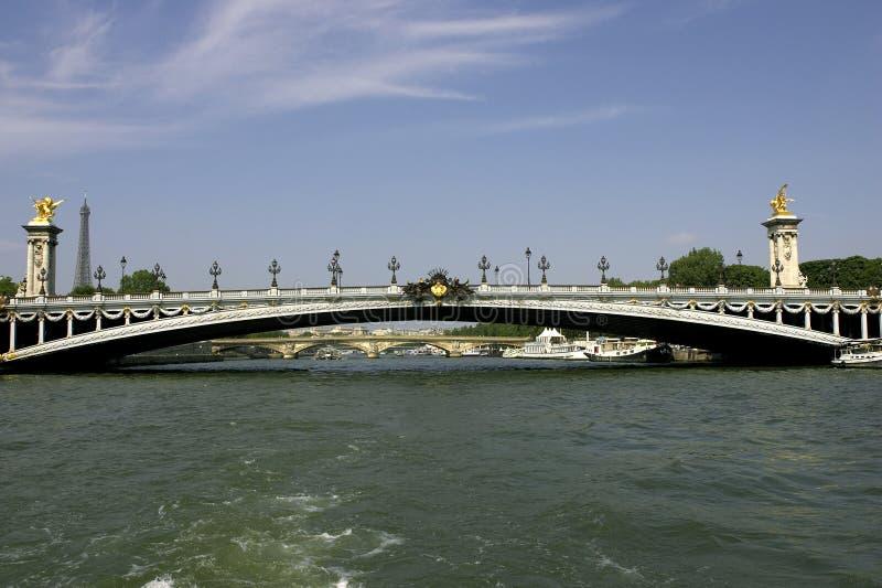 Passerelle de Pont Alexandre III au-dessus de la seine Paris France de fleuve photos libres de droits