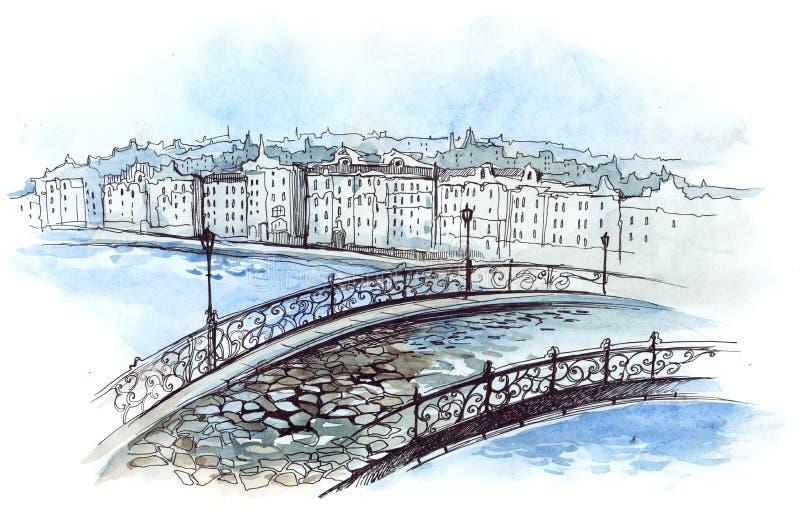 Passerelle de ville illustration de vecteur