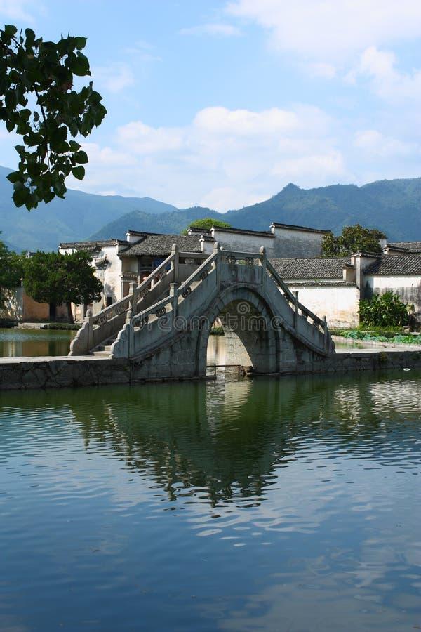 Passerelle de voûte dans le village de Hongcun photo libre de droits