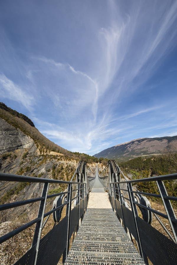 Passerelle du drac, hymalayan footbridge стиля, Ла Monteynard стоковое изображение rf