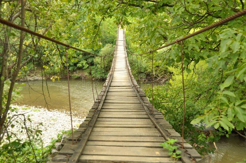 Passerelle en bois au-dessus d'un fleuve photo stock