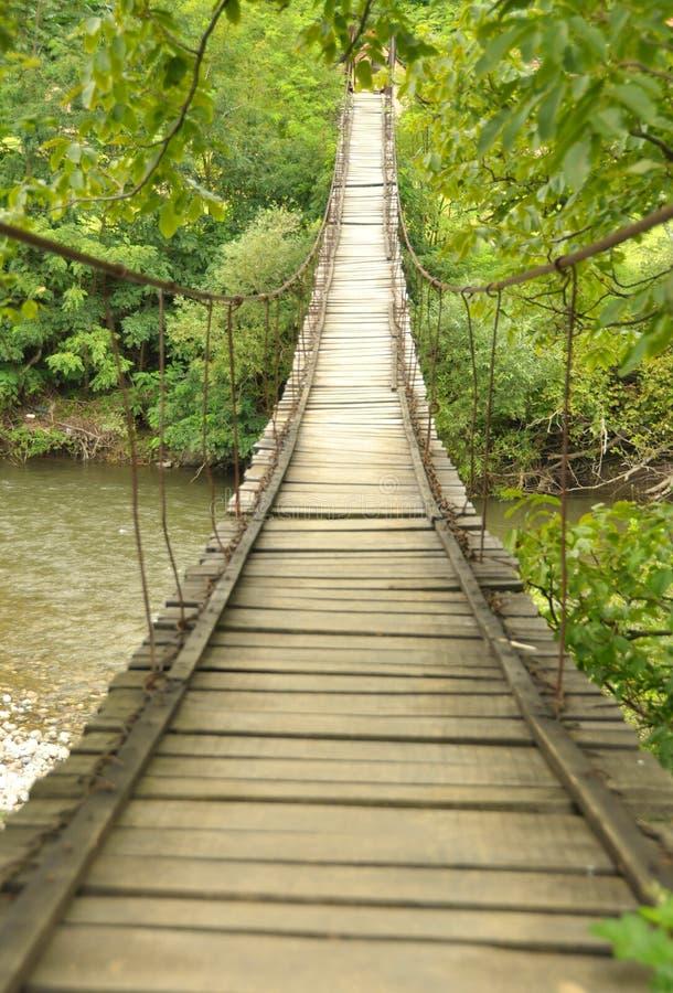 Passerelle en bois au-dessus d'un fleuve photo libre de droits