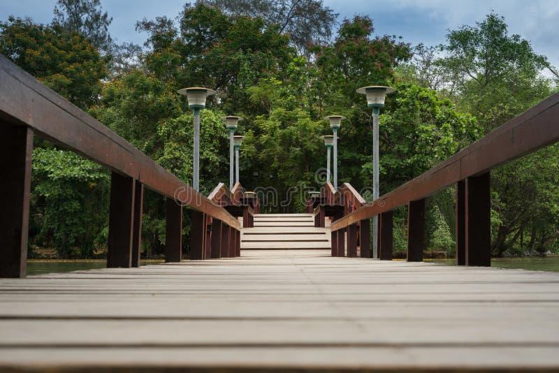 Passerelle en bois dans le jardin photo libre de droits