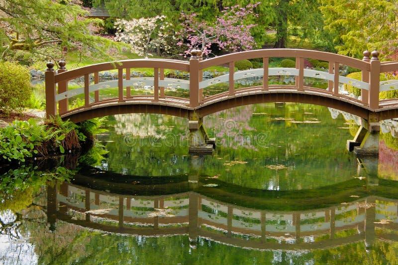 Passerelle en bois dans le jardin japonais photographie stock