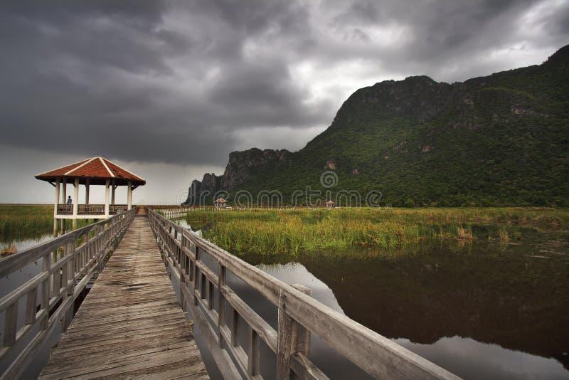 Passerelle en bois dans le lac de lotus au stationnement national de yod de ROI de Sam de khao photo stock