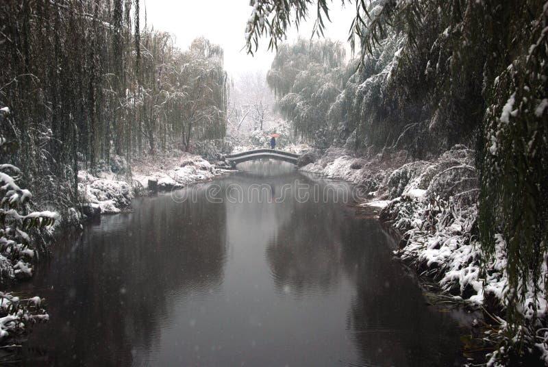 Passerelle et chute de neige importante images libres de droits