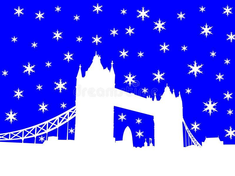 Passerelle Londres de tour en hiver illustration stock