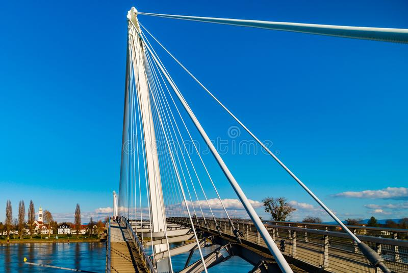 Passerelle pedestrian bridge over the Rhine between Kehl German stock photography