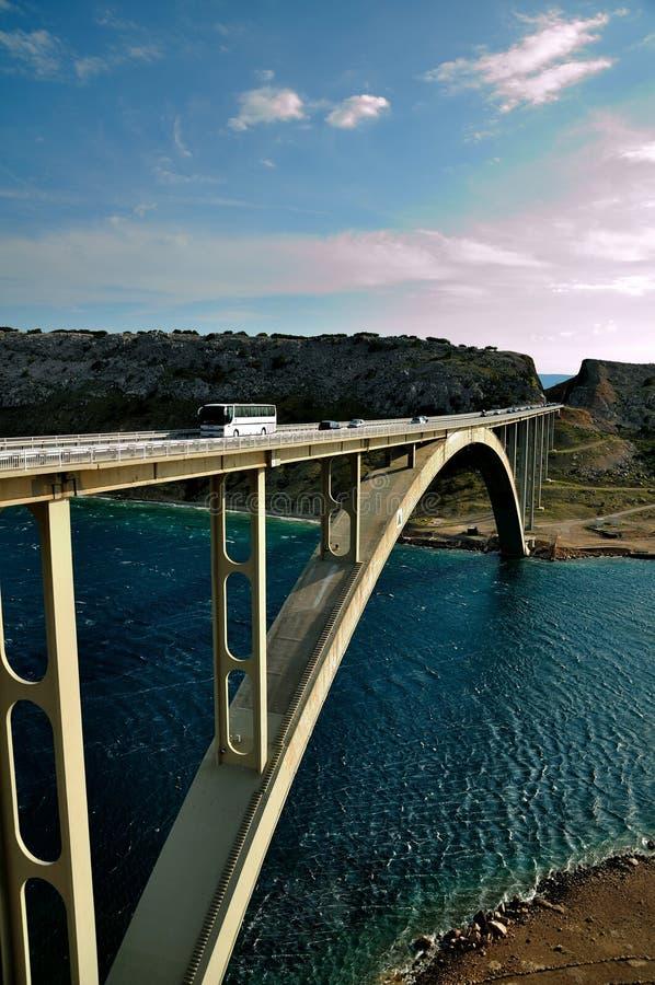 Passerelle sur l'île Krk en Croatie photo stock