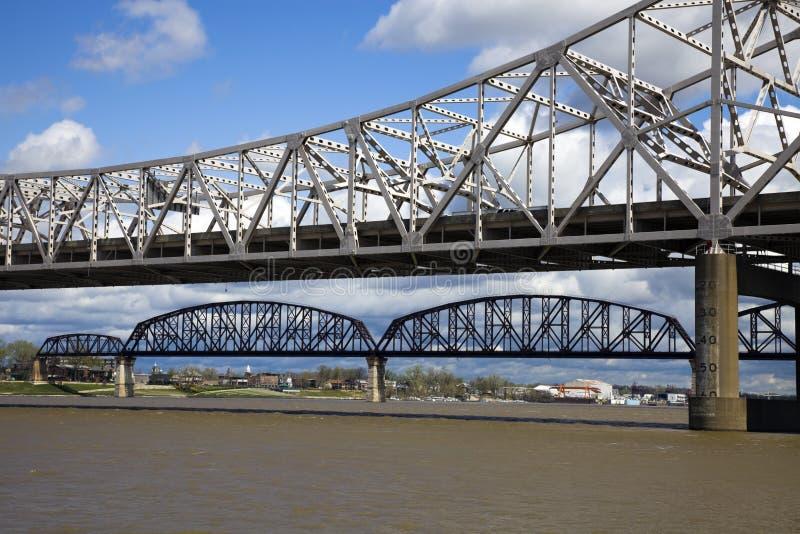 Passerelles entre le Kentucky et l'Indiana photographie stock libre de droits