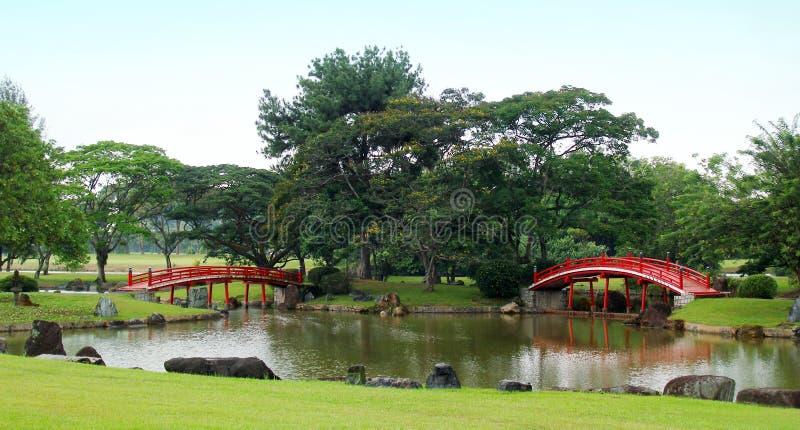 Passerelles japonaises rouges dans le jardin images libres de droits