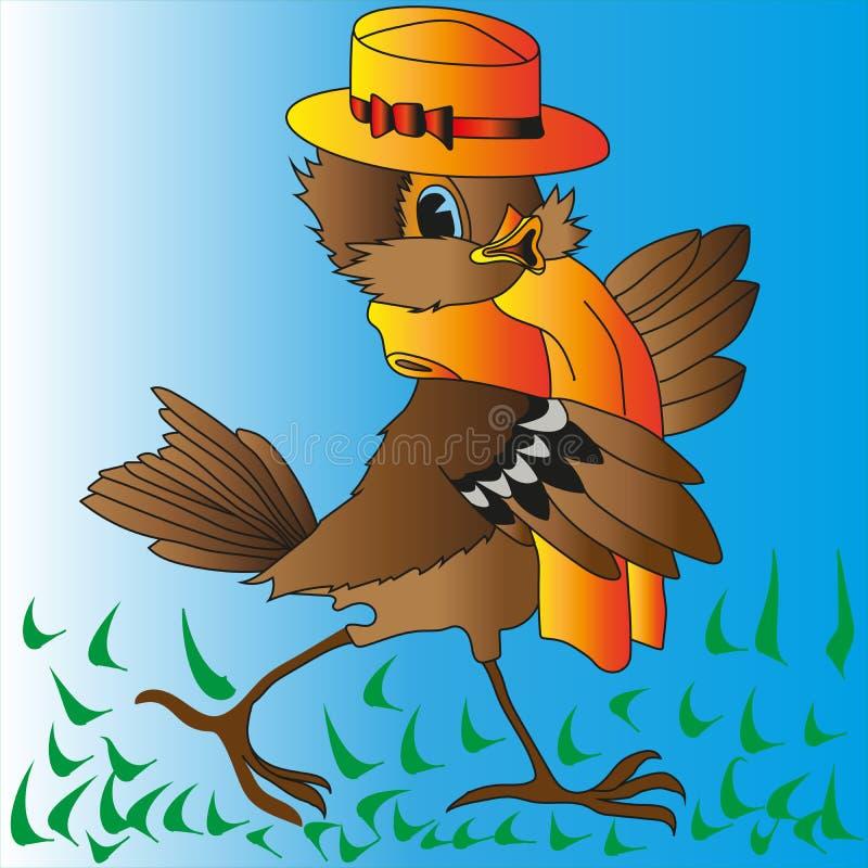 Passero allegro di Brown in un cappello giallo e da una sciarpa illustrazione vettoriale