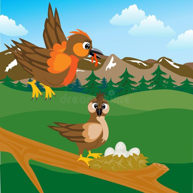 Passero sulla presa con l'uovo royalty illustrazione gratis