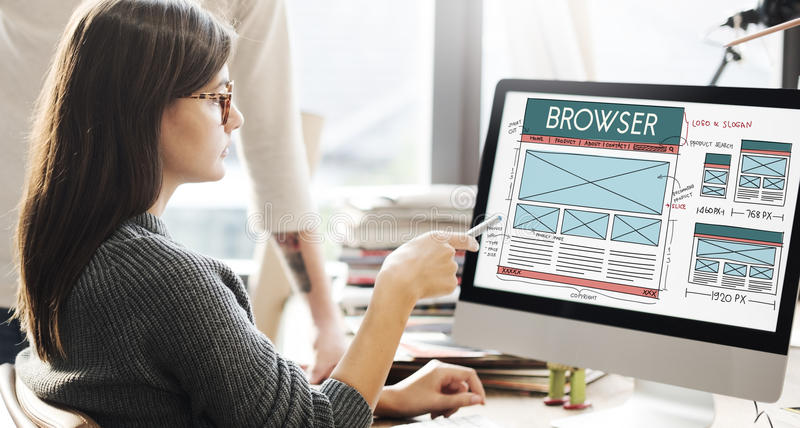 Passez en revue le navigateur relient le concept de disposition d'Internet image libre de droits
