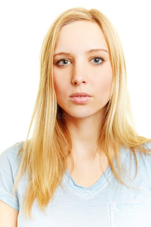 Passfoto av den unga kvinnan arkivfoto