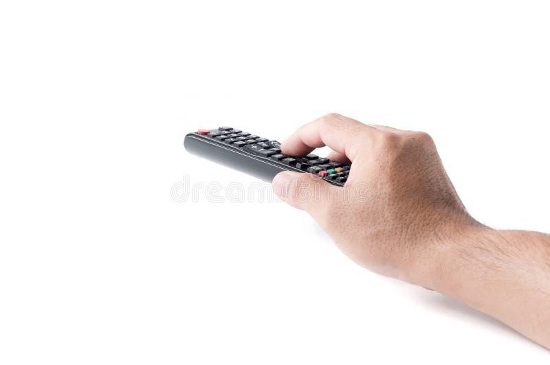 Passi con il telecomando di multimedia TV isolato fotografie stock
