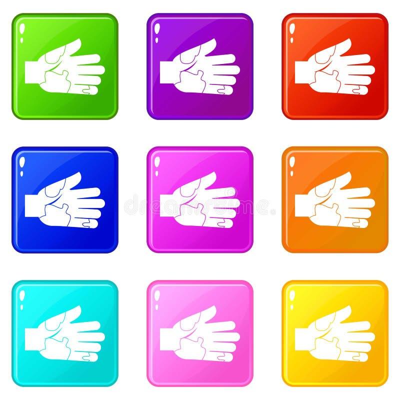 Passi con l'insieme delle icone 9 delle macchie illustrazione di stock