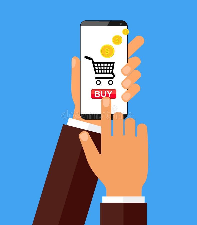 Passi forare lo Smart Phone con il bottone dell'affare sullo schermo Concetto di progetto piano di commercio elettronico Illustra illustrazione vettoriale