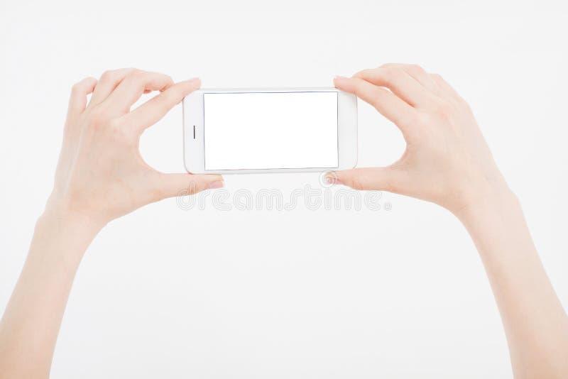 Passi giudicare il cellulare bianco isolato sul percorso di ritaglio bianco dentro Acquisto in linea Vista superiore Derisione su immagine stock libera da diritti