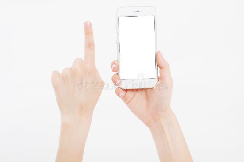 Passi giudicare il telefono bianco isolato sul percorso di ritaglio bianco dentro Vista superiore Derisione su Copi lo spazio mas fotografia stock