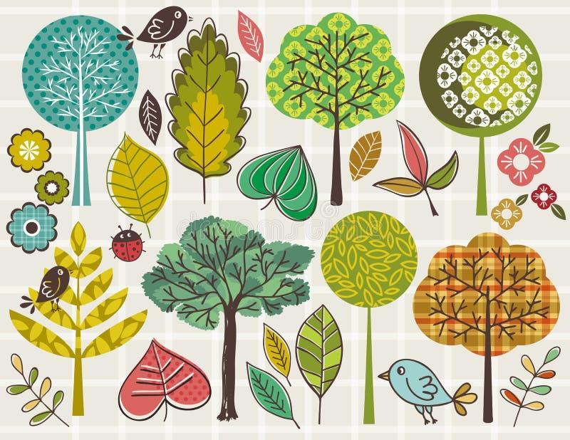 Passi gli alberi ed i fogli di tiraggio sopra priorità bassa controllata illustrazione vettoriale