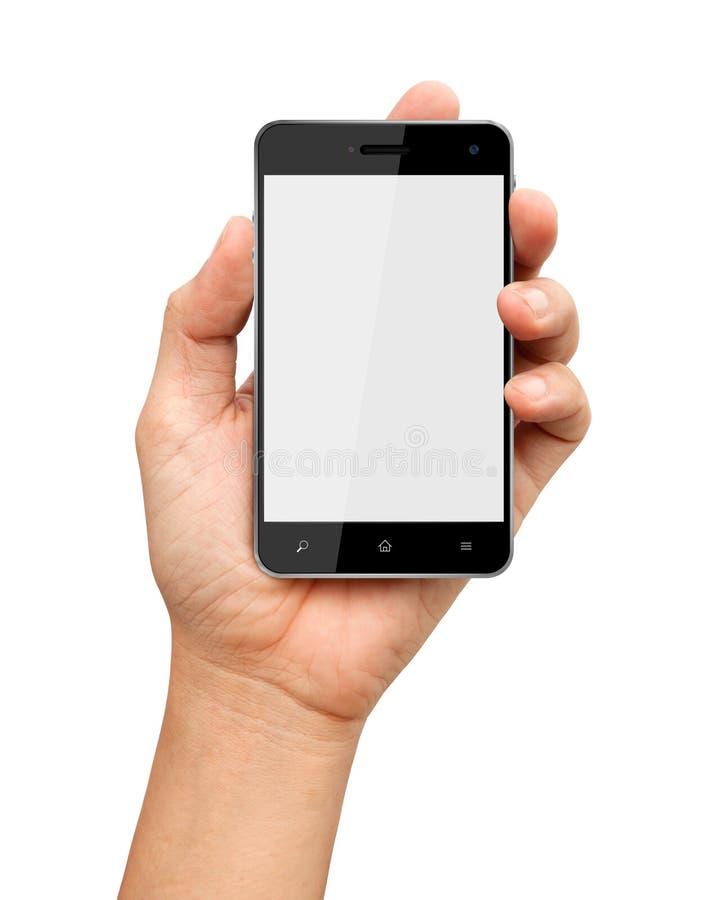 Passi a holding il telefono astuto con su priorità bassa bianca immagine stock libera da diritti