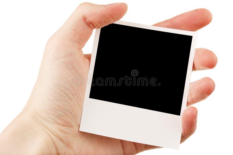 Passi a holding la foto in bianco immagini stock libere da diritti