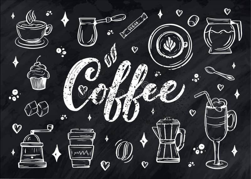 Passi i ellements dell'iscrizione nello stile di schizzo per la caffetteria o il caffè Progettazione d'annata disegnata a mano de illustrazione di stock
