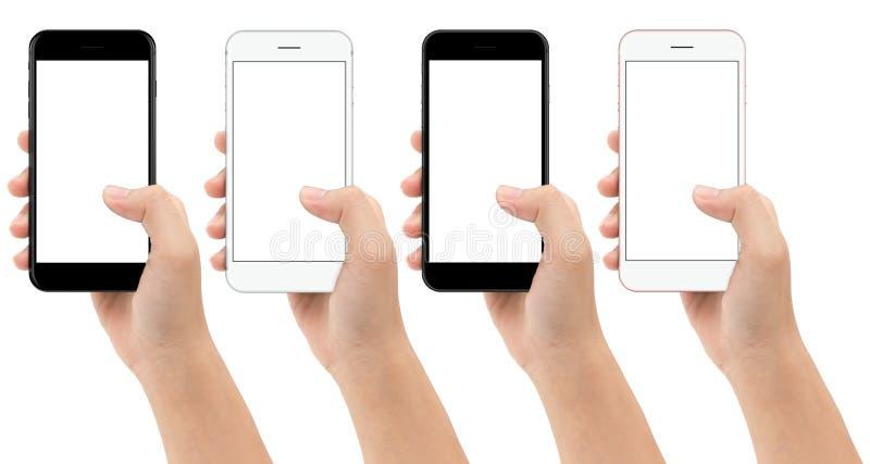 Passi il cellulare del telefono della tenuta isolato su fondo bianco immagini stock libere da diritti