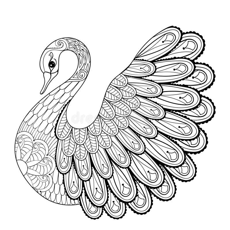 Passi il cigno artistico di disegno per le pagine adulte di coloritura nello scarabocchio royalty illustrazione gratis