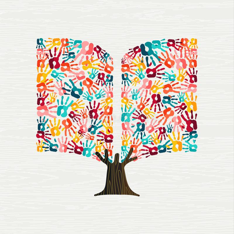 Passi il concetto dell'albero nella forma del libro per istruzione royalty illustrazione gratis