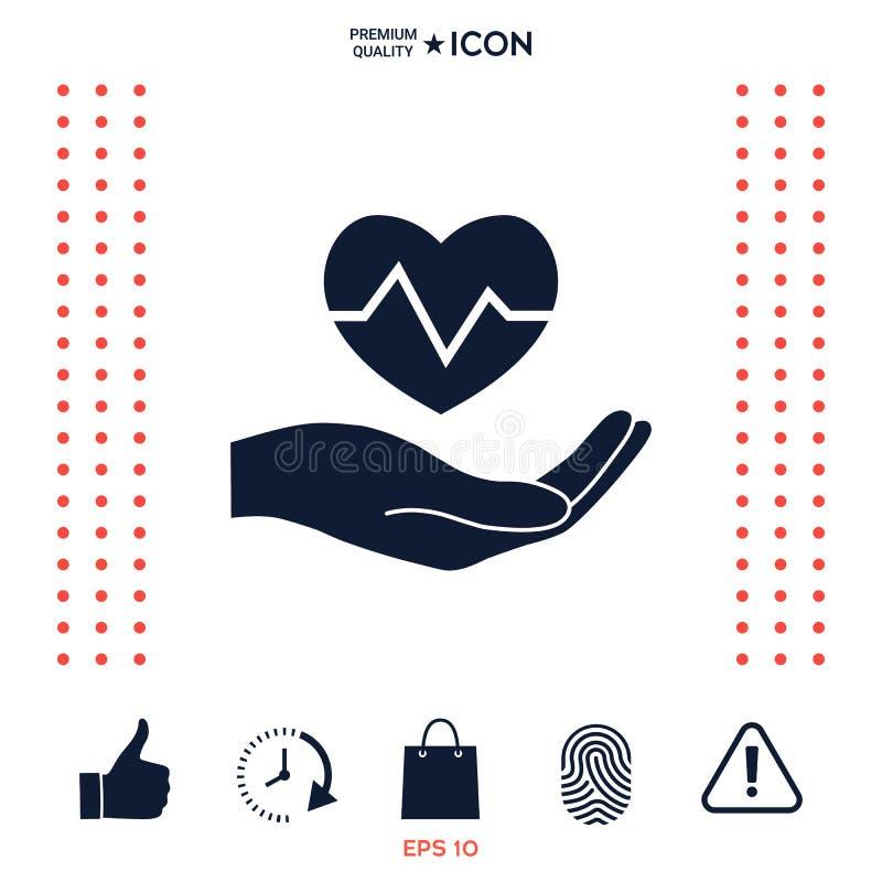 Download Passi Il Cuore Della Holding Icona Medica Illustrazione Vettoriale - Illustrazione di malattia, heartbeat: 117975248