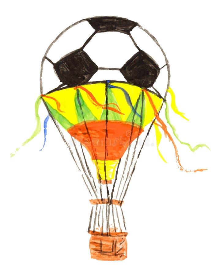 Passi il disegno dell'acquerello di un modello del pallone da calcio di calcio in una mongolfiera isolata su bianco illustrazione di stock
