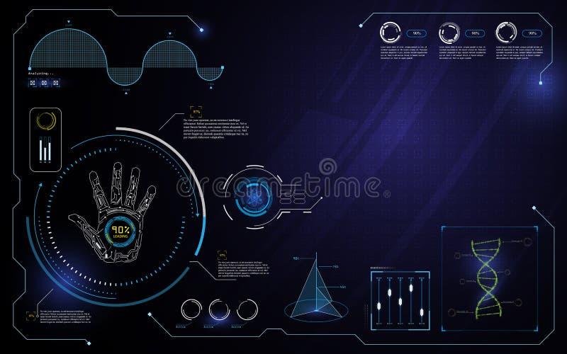Passi il fondo del modello di progettazione di massima del computer dell'innovazione della tecnologia di ui dell'interfaccia del  royalty illustrazione gratis