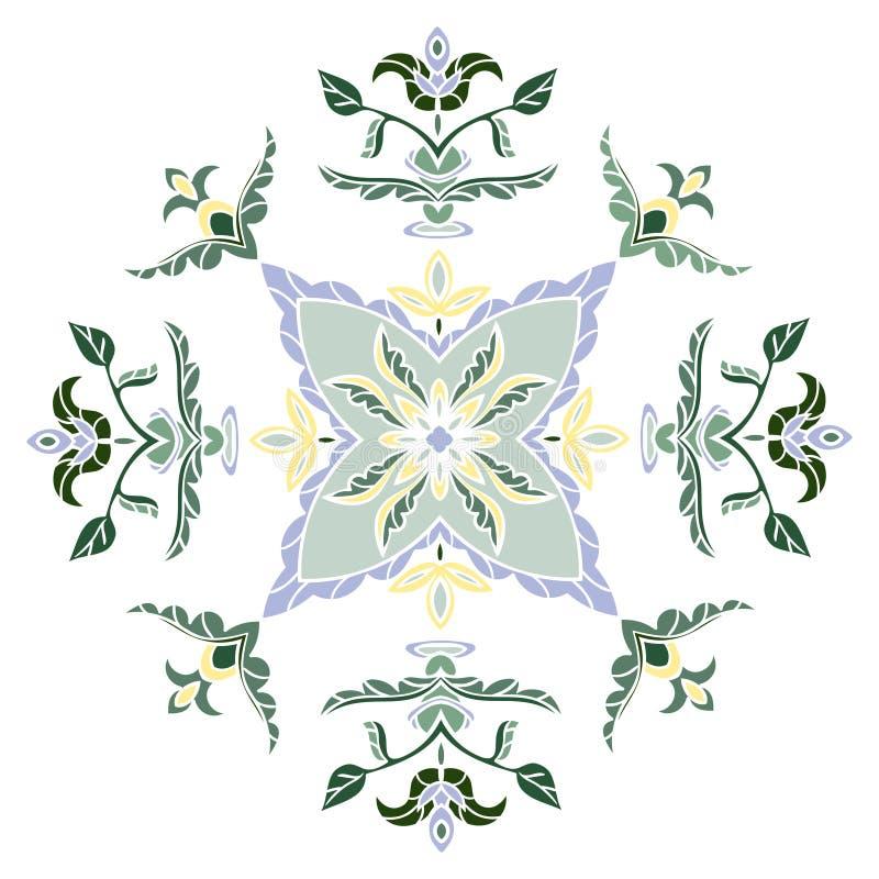 Passi il modello del disegno per le mattonelle nei colori blu, gialli e verdi Stampino quadrato floreale illustrazione di stock