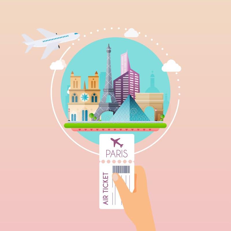 Passi il passaggio di imbarco della tenuta all'aeroporto a Parigi Viaggiando sull'aria royalty illustrazione gratis