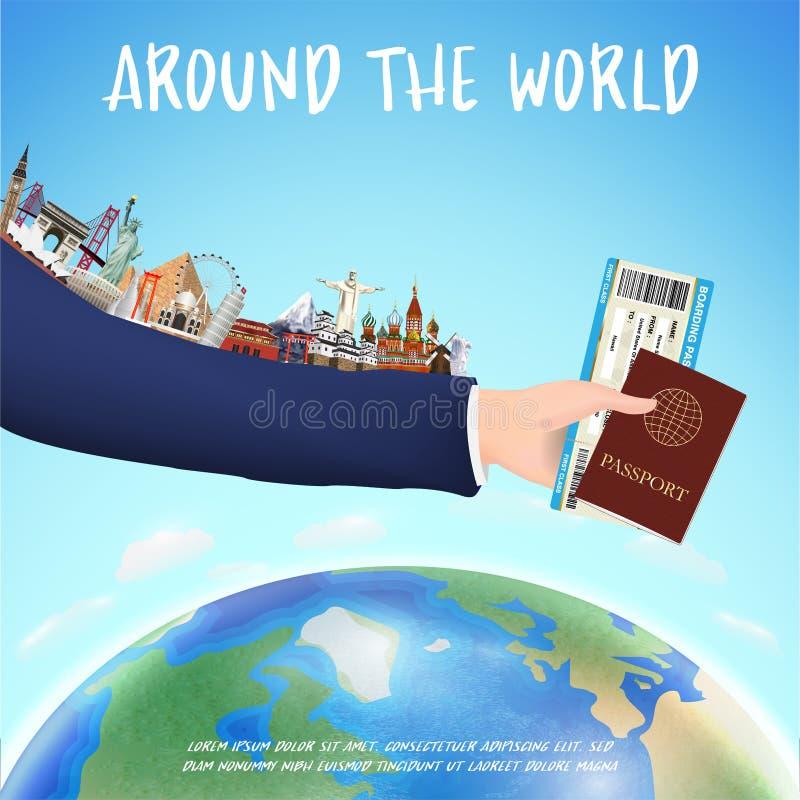 Passi il passaporto del passaggio di imbarco della tenuta ed il punto di riferimento del mondo royalty illustrazione gratis