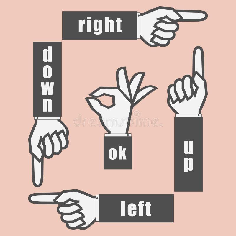 Passi il segno con indicare il dito e gesture OKAY Illustrazione di vettore illustrazione di stock