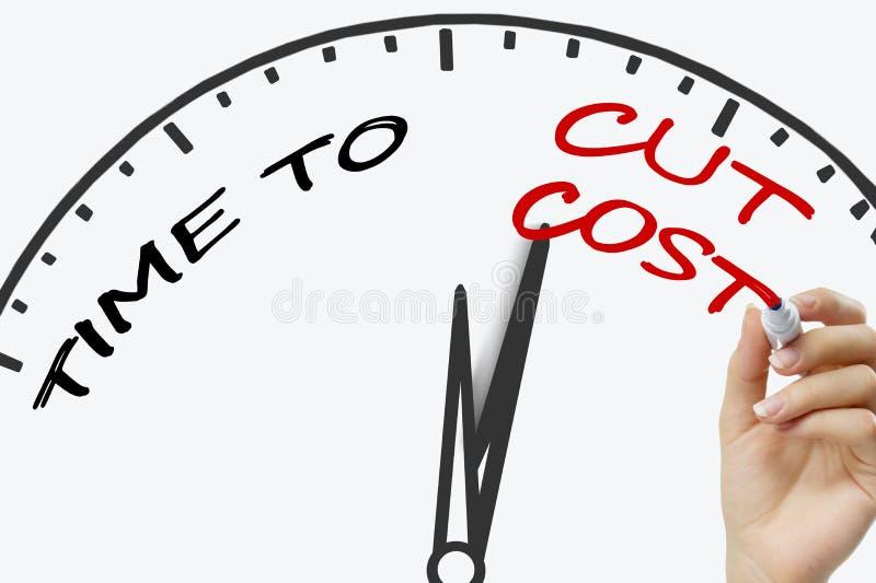 Passi il tempo di scrittura di tagliare il concetto di costo con rosso immagine stock