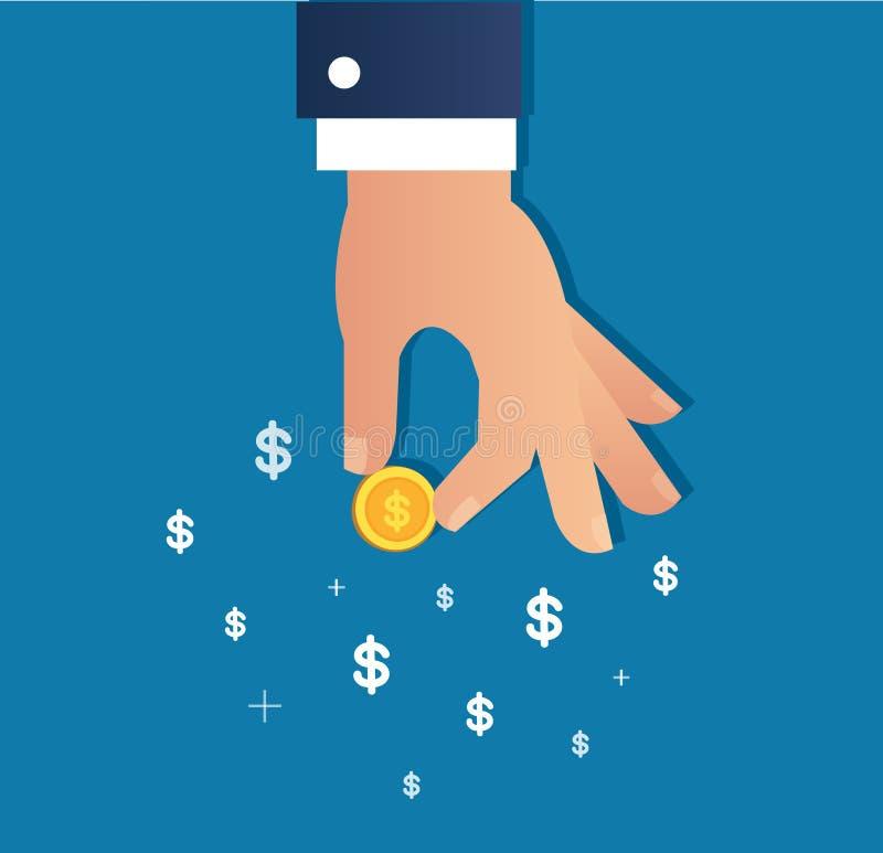Passi il vettore della moneta di oro della tenuta e dell'icona del dollaro, concetto di affari illustrazione di stock