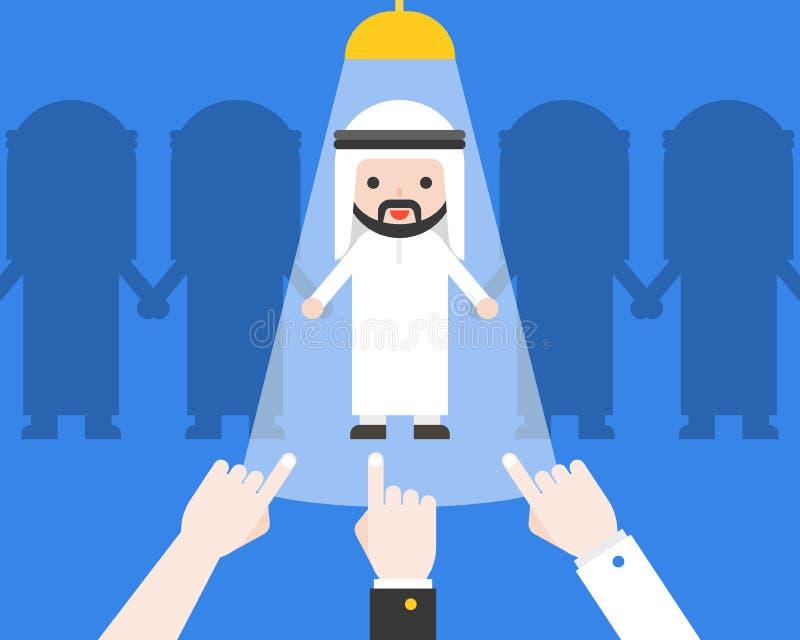 Passi indicare all'uomo d'affari arabo sveglio, recru di situazione aziendale illustrazione vettoriale