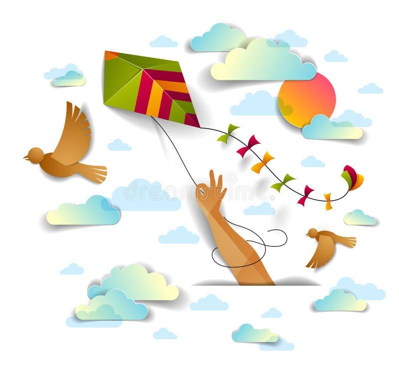 Passi l'aquilone della tenuta sopra la volata degli uccelli del cielo nuvoloso ed il sole, libertà illustrazione vettoriale