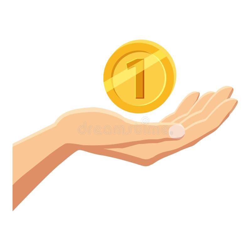 Passi l'icona della moneta di oro della tenuta, stile del fumetto illustrazione di stock