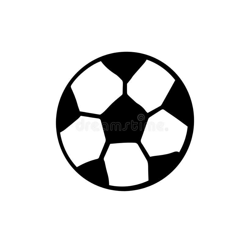 Passi l'illustrazione isolata palla di calcio di tiraggio su fondo bianco Illustrazione di scarabocchio illustrazione vettoriale